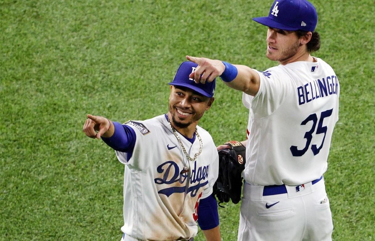 dodgers bellinger pointing at nfl ratings over baseball