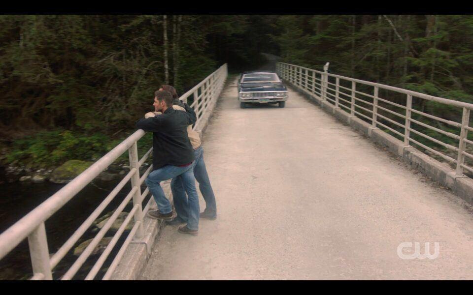 Baby Impala driving up to Jensen Ackles Jared Padalecki on SPN bridge
