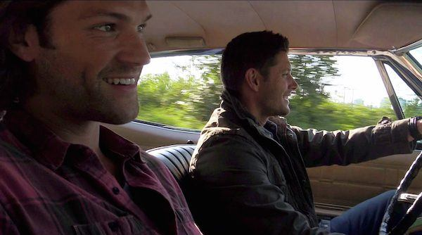 Dean Winchester singing excited inside baby