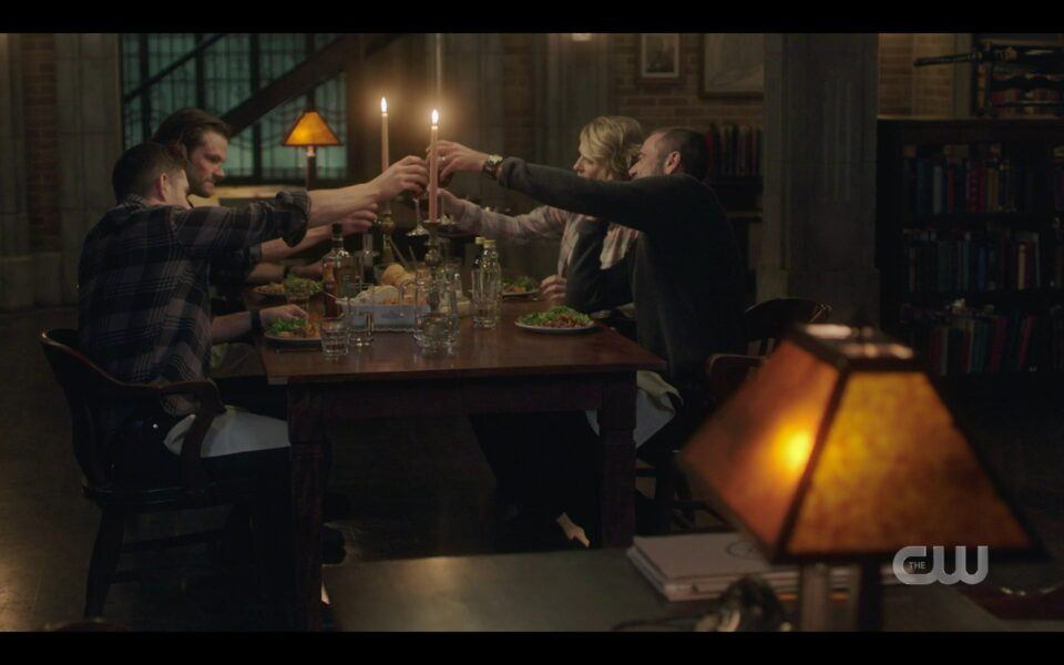 Happy holiday meal Winchester brothers with Jack SPN finale