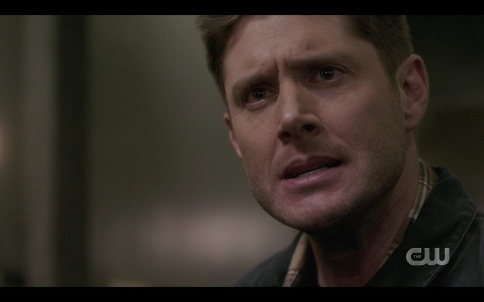 Intense Dean Winchester face with gun on brother Sam Unity