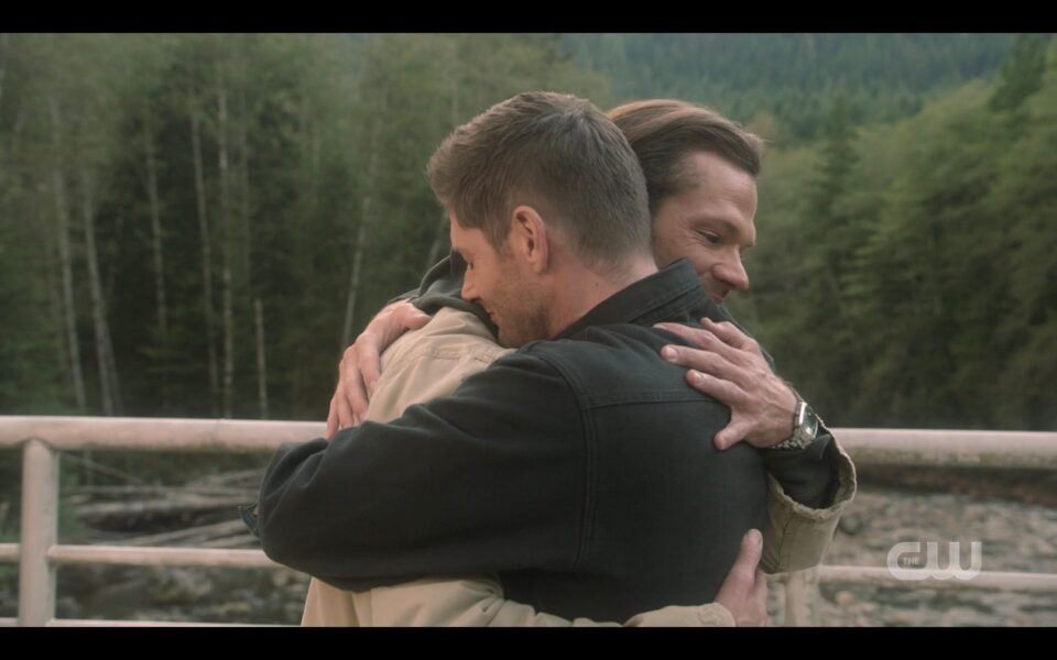 Jensen Ackles Jared Padalecki embracing tight bulges SPN finale