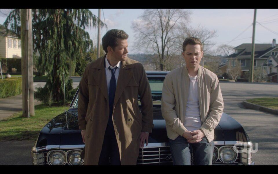 SPN Castiel sits with Jack on Impala Destiny