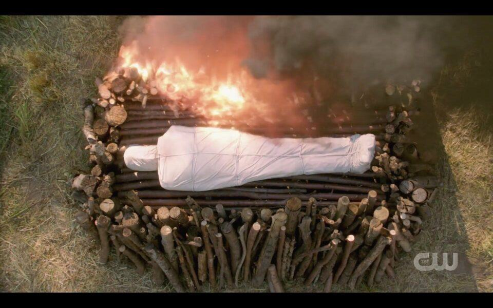 SPN Dean Winchester body being burned at funeral pyre