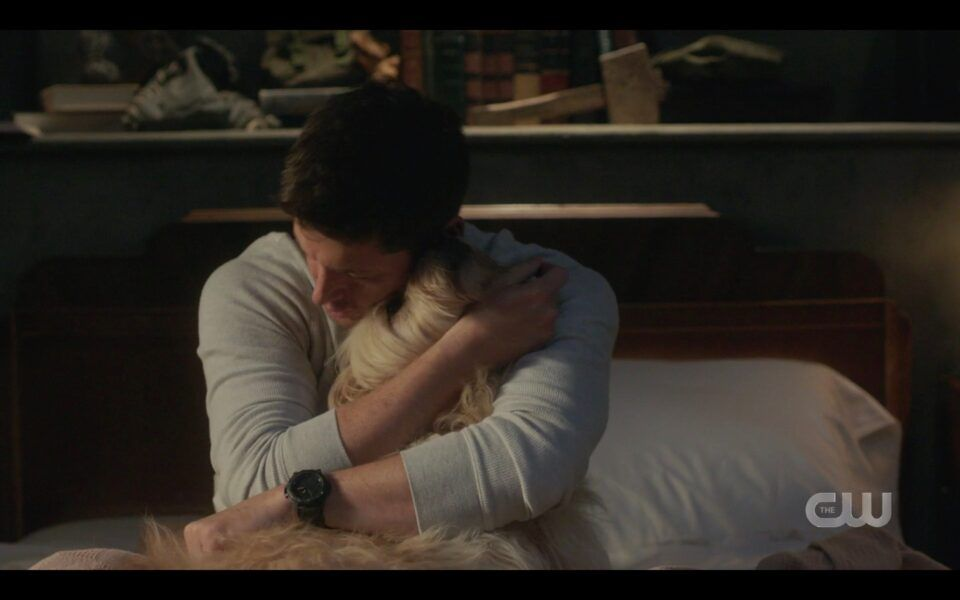 SPN Dean Winchester hugging Miracle dog tight