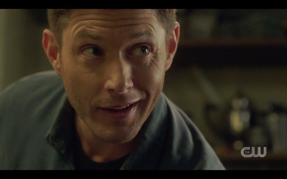 SPN Dean Winchester letting Miracle dog lick plates finale