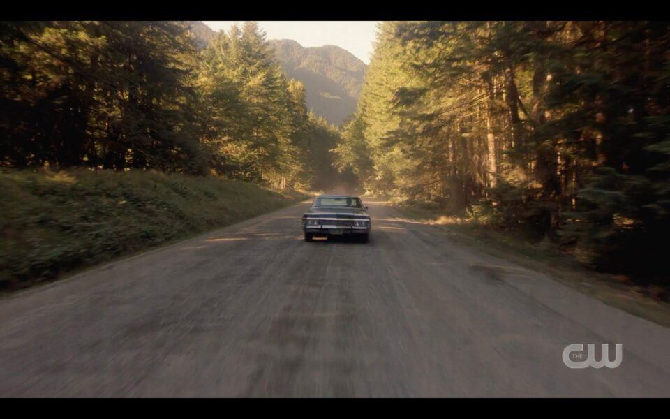 SPN Impala roaring down road as Sam Winchester is dying