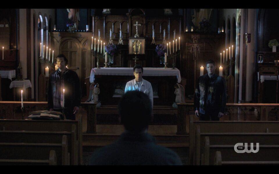 SPN Michael in church telling Winchesters Adam is gone 1519
