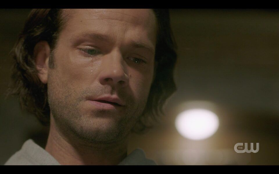 SPN Sam Winchester crying realizing he is alone with Dean dead