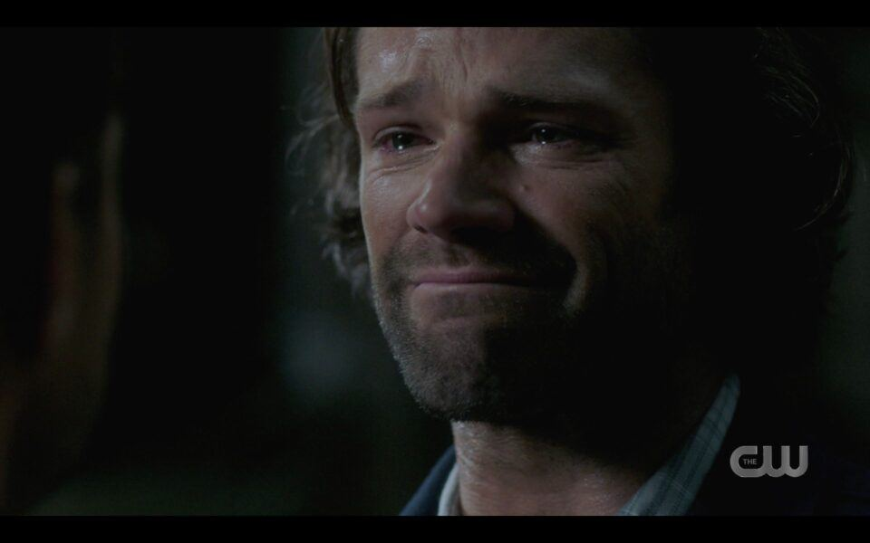 SPN Sam Winchester crying taking in Deans love