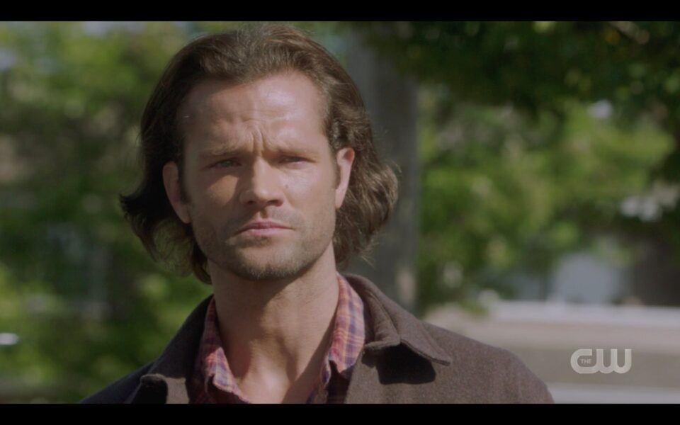 SPN Sam Winchester fighting tears goodbye to Jack God 1519