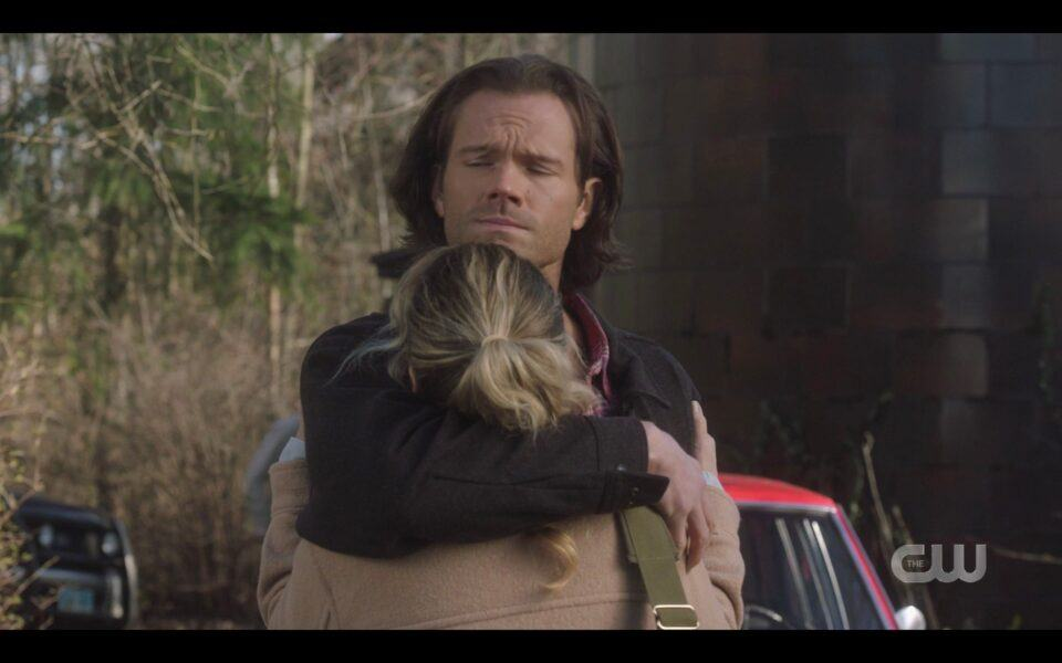 SPN Sam Winchester hugs Donna tight pre covid 19 1518 Destiny