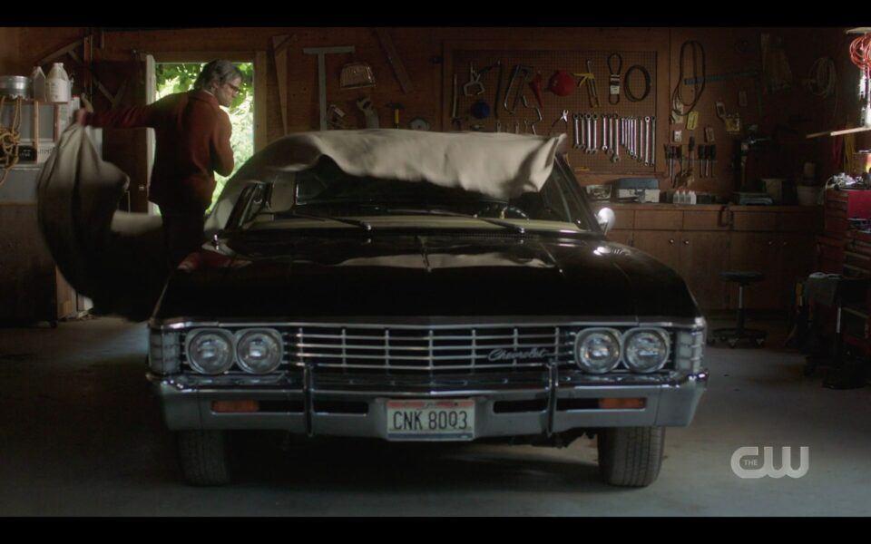 SPN Sam Winchester in garage with baby Impala