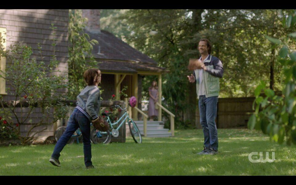 SPN Sam Winchester playing catch with Dean Jr
