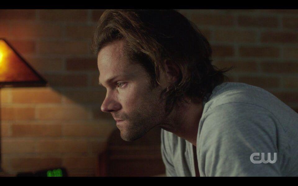 SPN Sam Winchester sitting sad over Deans death finale