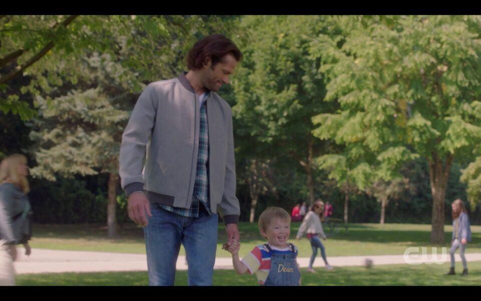 SPN Sam Winchester walking in park with Dean Jr 1520