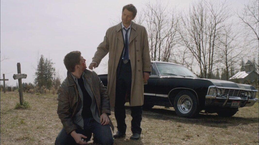 SPN Swan Song castiel reaching down to Dean Winchester