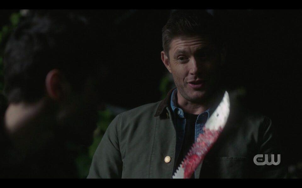 SPN finale Dean Winchester with bloody machete outside barn