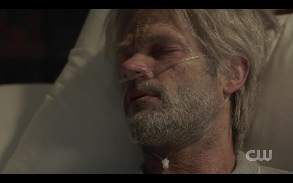 SPN old Sam Winchester dying with son finale