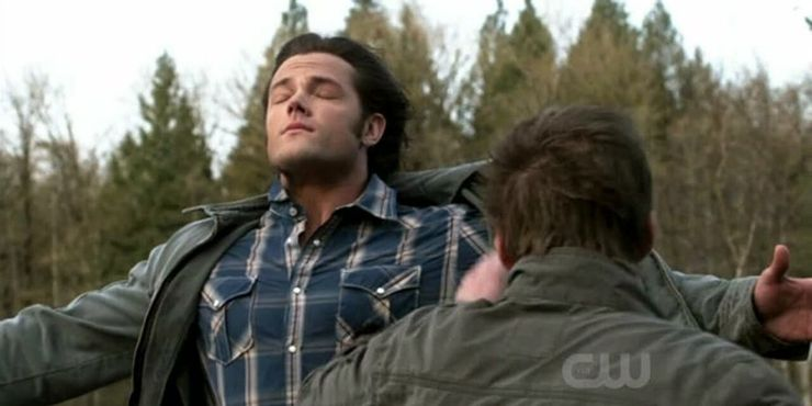 Sam Winchester being blown by windy Dean SPN Swan Song