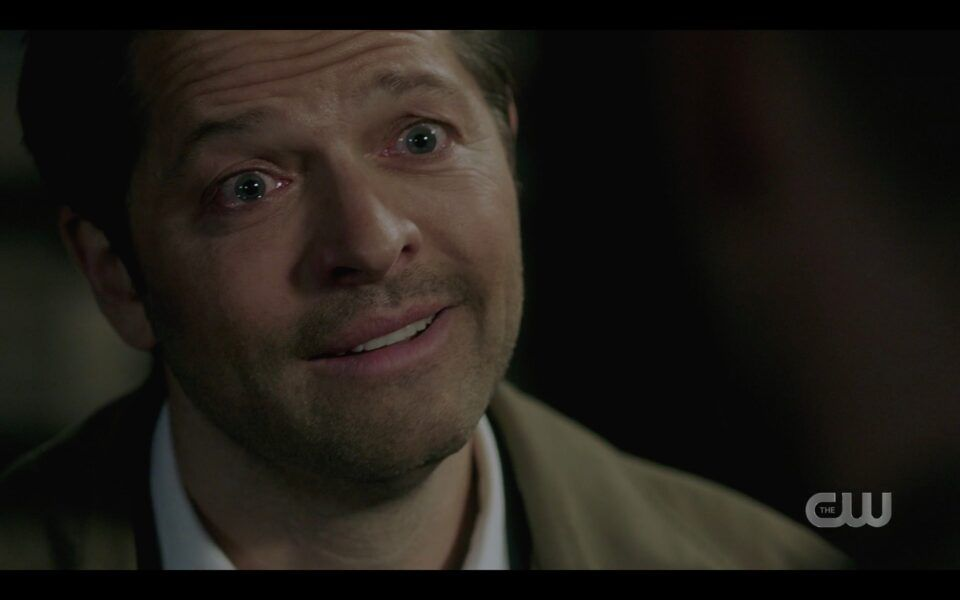 Supernatural Castiel smiling through sobbing tears to Dean Winchester 1518