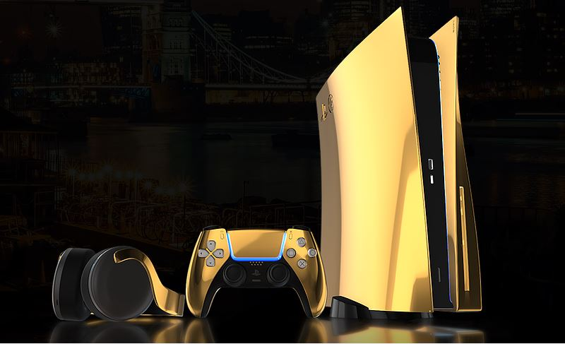 solid gold version of ps5 console