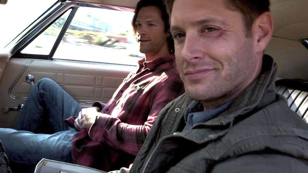 supernatural baby winchester brothers smiling inside impala