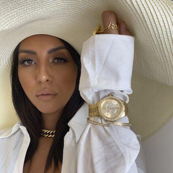 jbw cristal womens watch shown on female model 2020