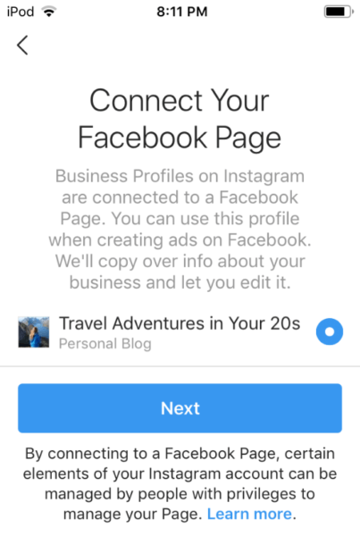 Connect your Facebook page to Instagram