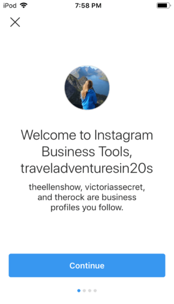 Instagram Business Tools Welcome page