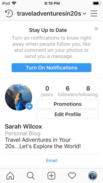 Instagram stay up to date notification page