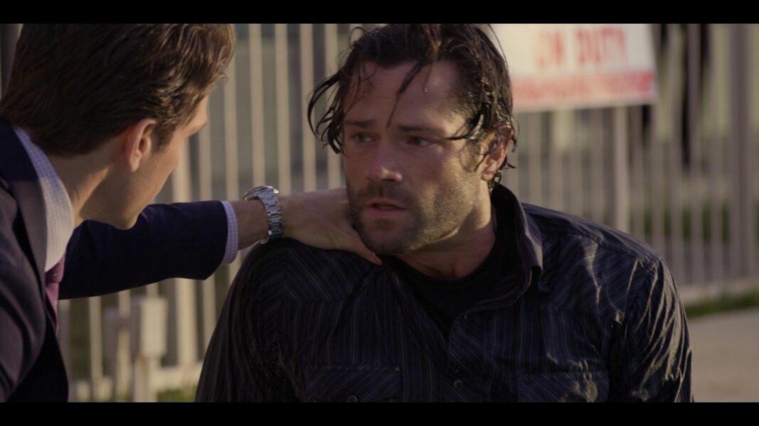 Walker Jared Padalecki soaking wet tight jeans with Liam at Pool