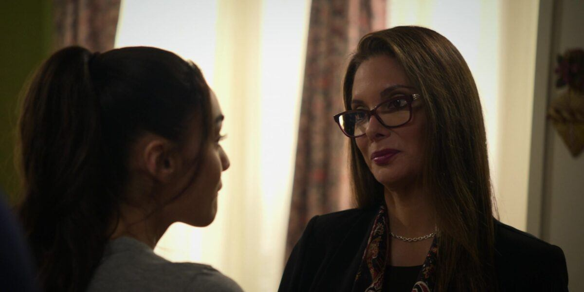 Micki reacting to mom Adrianna therapy manipulation