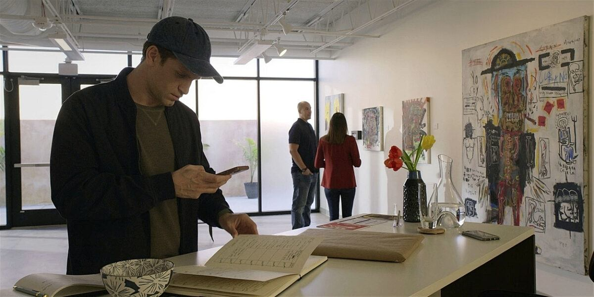 Liam calling after Emily finds James at art gallery Walker 107.