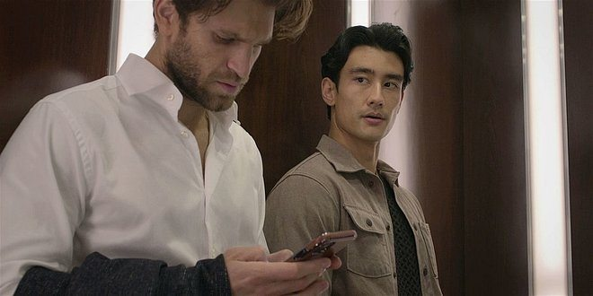 Walker Bret asking Liam why he is being weird in elevator.