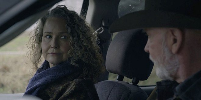 Walker Molly Hagan and Mitch Pileggi in car talking 108.