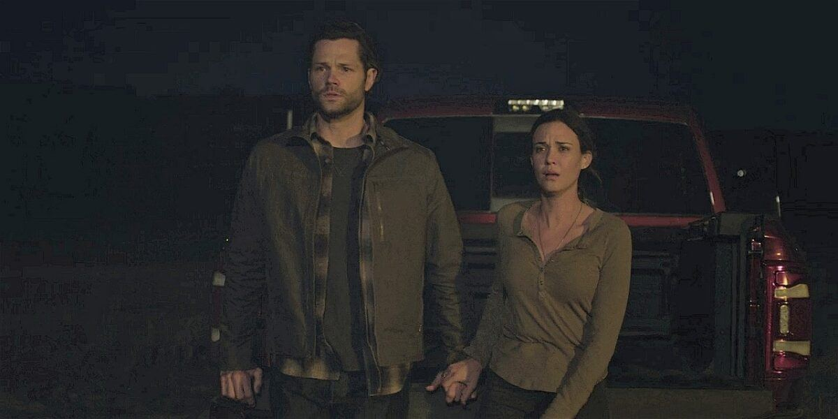 Walker Jared Padalecki and Geri holding hands after seeing dead Emily 109.