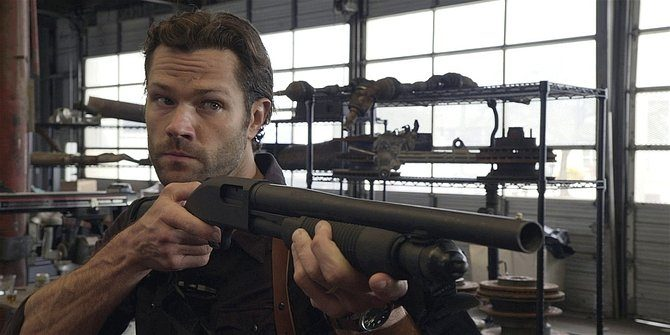 Close up of Walker Jared Padalecki with single barrel rifle 1.09.