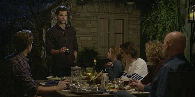 Walker Jared Padalecki toasting dead wife Emily at family dinner 109.