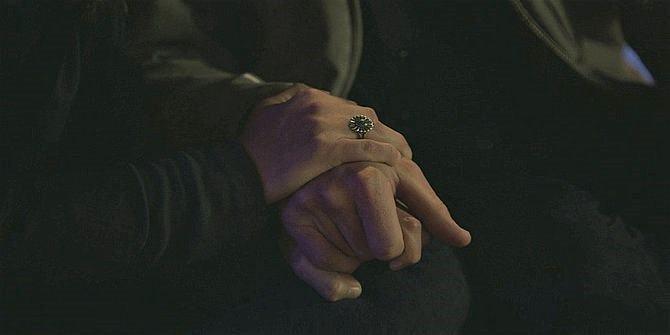 Emily holding Jared Padaleckis hands in Walker 109 similar to Supernatural finale.