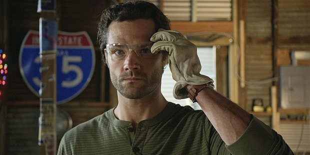 Walker Jared Padalecki putting on protective glasses at Side Step ready to do reno.