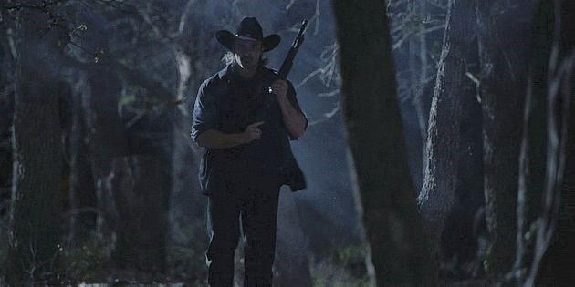 Walker Jaxon chasing Stella through woods.