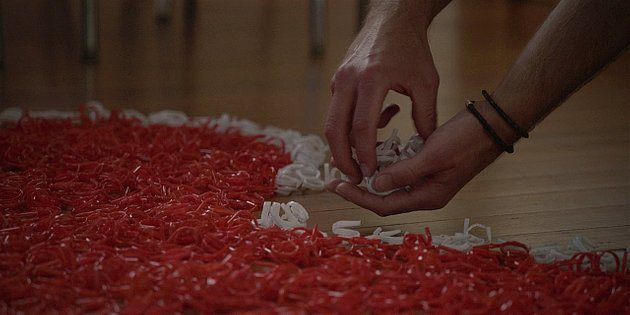 Walker Hoyt making a giant red white heart to ask Geri to marry him.
