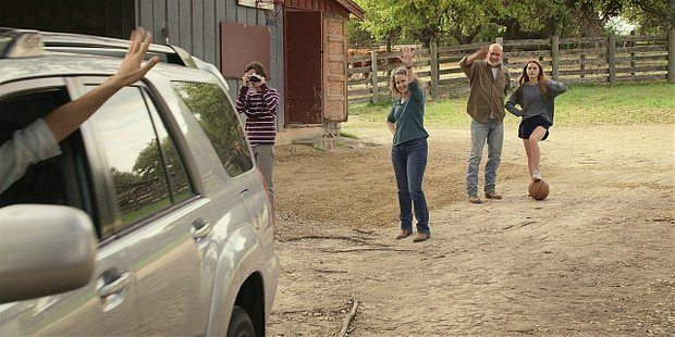 WAlker Abilene Bonham and kids waving as Emily drives off about to die.