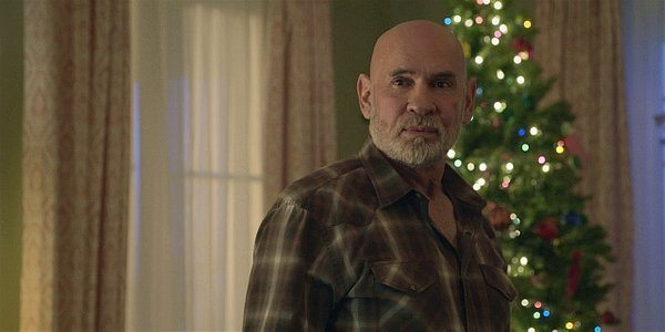 Walker Mitch Pileggi as Bonham with Abilene at Christmas time tree.