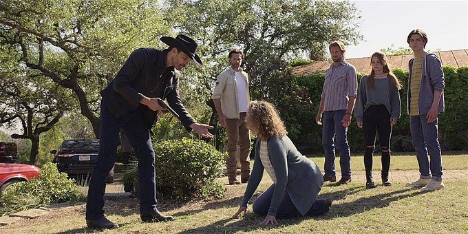 Walker Abilene refuses Clints hands to help her from ground.