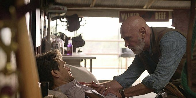 Walker Bonham Mitch Pileggi tends to Liam wounds.
