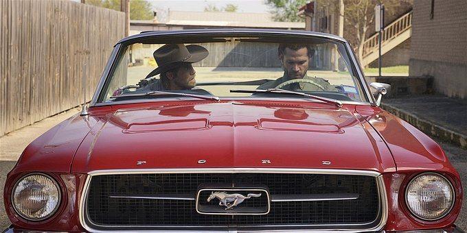 Walker Jared Padalecki with Hoyt in red Ford car.