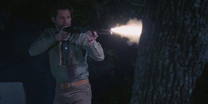 Walker Cordell firing shotgun at Clint 1.13.