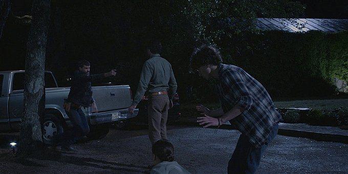 Walker Liam reaching down to get gun on Clint Defend the Farm.